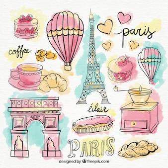 Zestaw elementów paryżu w akwareli