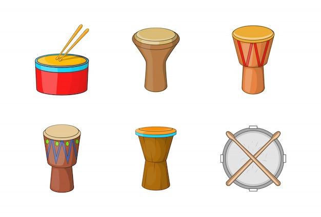Zestaw elementów perkusyjnych. kreskówka zestaw elementów wektorowych bębnów
