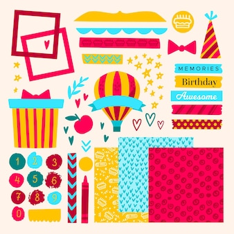 Zestaw elementów piękny notatnik urodziny