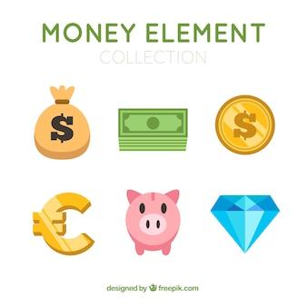 Zestaw elementów pieniądze w płaskiej konstrukcji