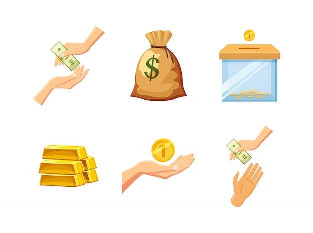Zestaw elementów pieniężnych. kreskówka zestaw pieniędzy