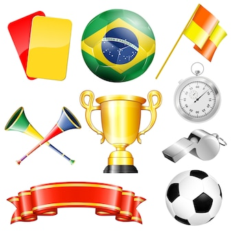 Zestaw elementów piłkarskich: piłka, trofeum, wstążka, karty, gwizdek
