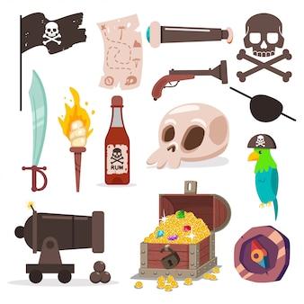 Zestaw elementów piratów. czaszka i skrzyżowane kości, papuga, miecz, stara mapa, czarna flaga, armata, pochodnia, skrzynia ze skarbem, kompasem i pistoletem wektor kreskówka ikony na białym tle