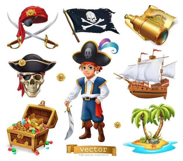 Zestaw elementów piratów