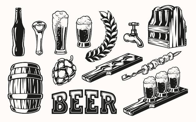 Zestaw elementów piwa do projektowania na jasnym tle. wszystkie pozycje są w osobnych grupach.