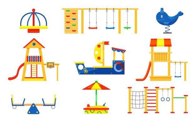 Zestaw elementów placu zabaw dla dzieci. karuzele, zjeżdżalnie, drabiny, drewniana piaskownica. sprzęt do zabawy dla aktywnych dzieci