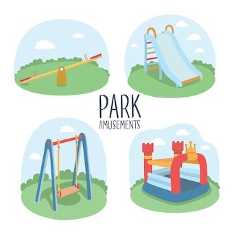 Zestaw elementów placu zabaw dla dzieci