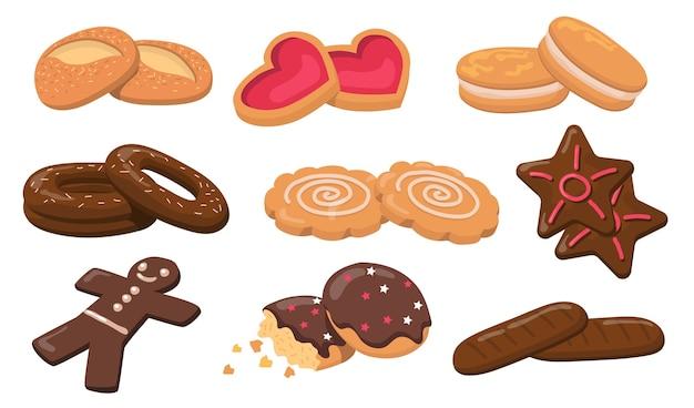 Zestaw elementów płaskich kolorowe ciastka i ciasteczka. kreskówka świeże okrągłe słodkie smaczne ciasteczka na deser na białym tle wektor zbiory ilustracji. koncepcja ciasta i wyroby cukiernicze