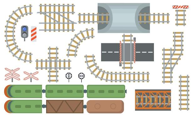Zestaw elementów płaskich torów kolejowych i kolejowych. widok z góry na dworzec i linie kolejowe na białym tle kolekcja ilustracji wektorowych. widok z góry. koncepcja mapy budowy i przemysłu