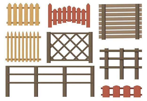 Zestaw elementów płaskich wiejskich płotów drewnianych. kreskówka gospodarstwo lub wieś vintage brązowe bramy na białym tle kolekcja ilustracji wektorowych. bariery drewniane i koncepcja wsi