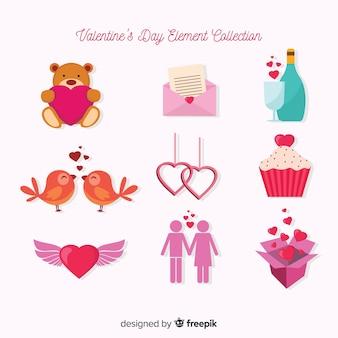 Zestaw Elementów Płaskiej Valentine Darmowych Wektorów