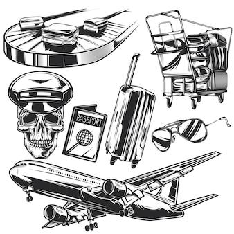 Zestaw elementów podróży lotniczych do tworzenia własnych odznak, logo, etykiet, plakatów itp.
