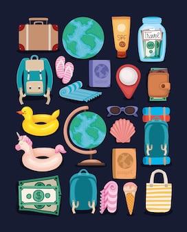 Zestaw elementów podróży