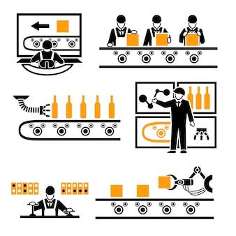 Zestaw elementów procesu produkcji fabrycznej.