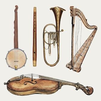 Zestaw elementów projektu antycznych instrumentów muzycznych, zremiksowany z kolekcji domeny publicznej