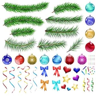 Zestaw elementów projektu boże narodzenie: gałęzie sosny, kulki, wstążki i ozdoby.
