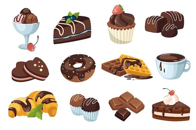 Zestaw elementów projektu czekoladowe desery. kolekcja lodów, ciast, babeczek, cukierków, pączków, gofrów, gorących napojów, czekolady i słodyczy. wektor ilustracja na białym tle obiektów w stylu płaskiej kreskówki
