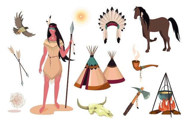 Zestaw elementów projektu dziki zachód. kolekcja indyjskiej kobiety w tradycyjnym stroju, czaszce bawolej, tomahawku, fajce, wigwamie, nakryciu głowy z piór. wektor ilustracja na białym tle obiektów w stylu płaskiej kreskówki