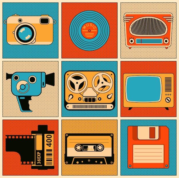 Zestaw elementów projektu obiektów multimedialnych retro