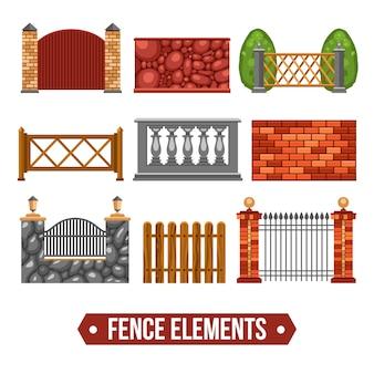 Zestaw elementów projektu ogrodzenia