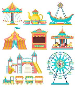 Zestaw elementów projektu parku rozrywki, merry go round, karuzela, namiot cyrkowy, diabelski młyn, pociąg, stoisko biletowe ilustracja na białym tle