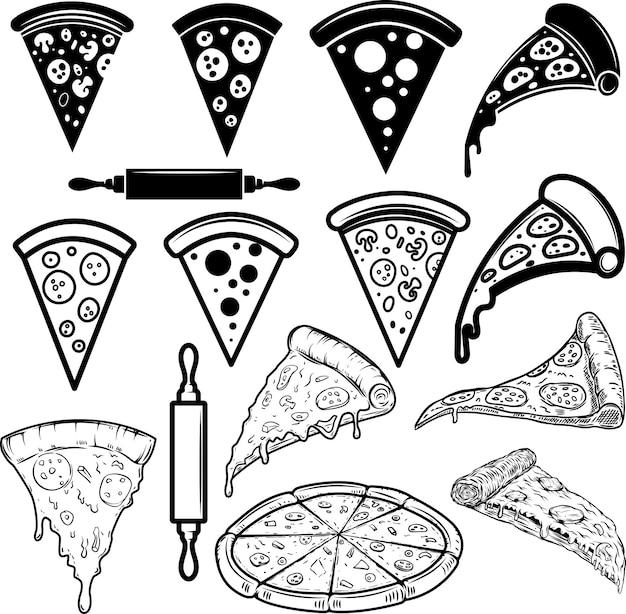 Zestaw elementów projektu pizzy. na plakat, kartę, baner, znak, logo. ilustracja wektorowa