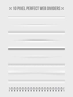 Zestaw elementów projektu poziomych przegródek internetowych. rama i introligatornia. ilustracji wektorowych