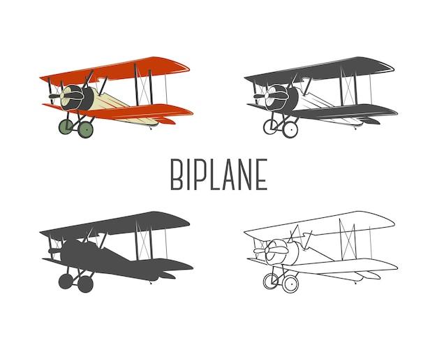 Zestaw elementów projektu rocznika samolotu. retro biplany w kolorze, linii, sylwetce, wzory monochromatyczne. symbole lotnictwa. emblemat dwupłatowy. stare samoloty