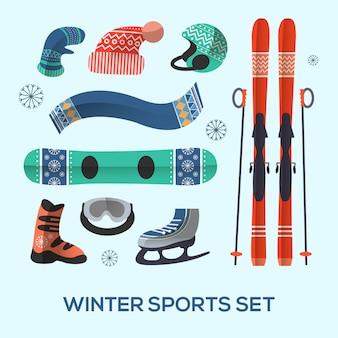 Zestaw elementów projektu sportów zimowych. ikona sportów zimowych w stylu płaski.