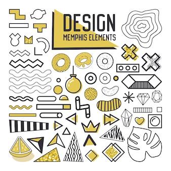 Zestaw elementów projektu streszczenie stylu memphis. kolekcja kształtów geometrycznych dla wzorów, tła, broszury, plakatu, ulotki, okładki.