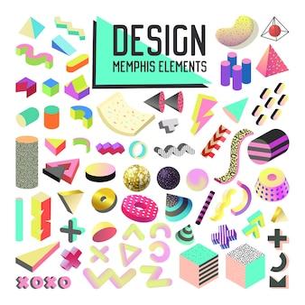 Zestaw elementów projektu streszczenie stylu memphis. kolekcja kształtów geometrycznych z formami 3d i płynem