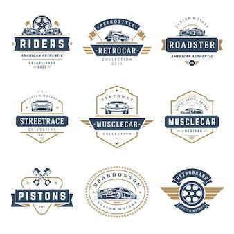 Zestaw elementów projektu szablony logo samochodu