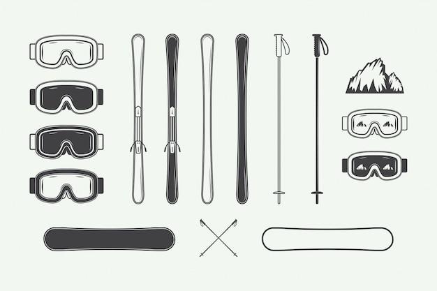 Zestaw elementów projektu vintage snowboardu lub sportów zimowych. ilustracja. monochromatyczna grafika.
