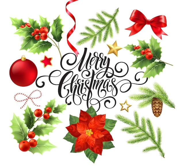 Zestaw elementów projektu wesołych świąt. dekoracje i przedmioty bożonarodzeniowe. poinsecja, gałąź jodły, jemioła, elementy projektu szyszka. bombka, wstążka, kokardka. szczegółowa ilustracja na białym tle wektor