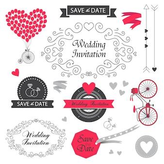 Zestaw elementów projektu zaproszenia ślubne vintage, ręcznie rysowane