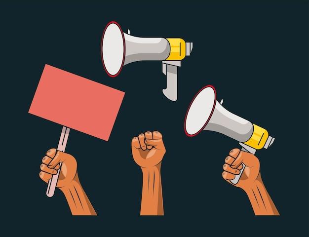 Zestaw elementów protestu