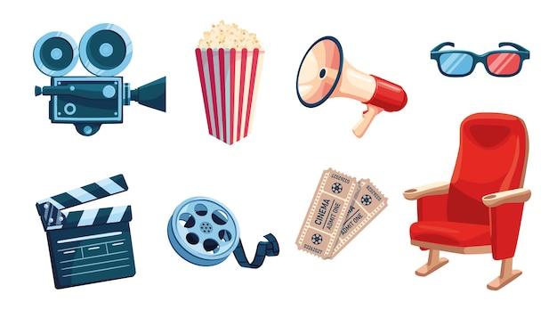 Zestaw elementów przemysłu filmowego.