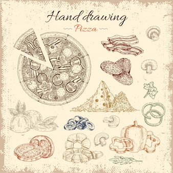 Zestaw elementów ręcznie rysowane pizzy
