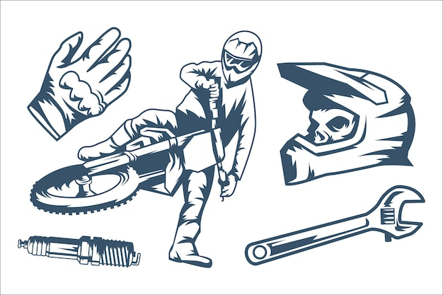 Zestaw elementów retro motocross