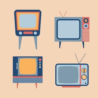 Zestaw elementów retro tv