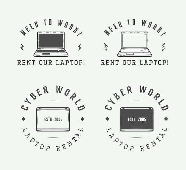 Zestaw elementów rocznika logo laptopa, godło, odznaka i projekt
