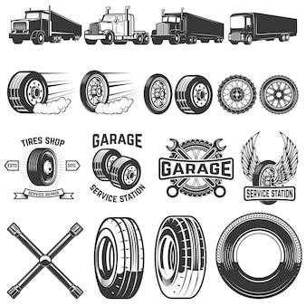 Zestaw elementów serwisu opon. ilustracje ciężarówek, koła. elementy logo, etykiety, godła, znaku. ilustracja