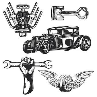Zestaw elementów serwisu samochodowego do tworzenia własnych identyfikatorów, logo, etykiet, plakatów itp.