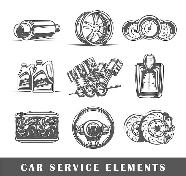 Zestaw elementów serwisu samochodowego