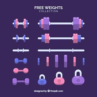 Zestaw elementów siłowni z narzędziami do ćwiczeń