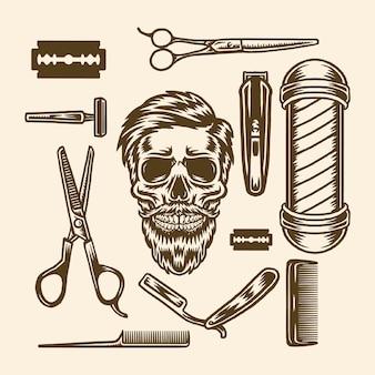 Zestaw elementów sklepu fryzjer