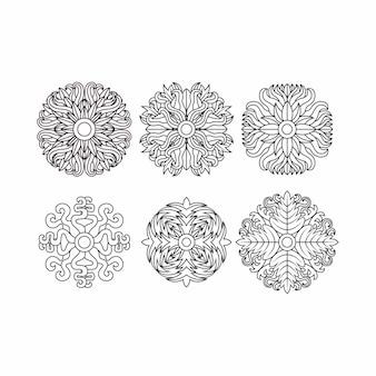Zestaw elementów spirografu, koncepcja liść