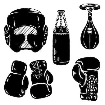 Zestaw elementów sportowych boks. rękawice bokserskie, ochrona głowy, worek treningowy. elementy logo, etykiety, godło, znak. ilustracja