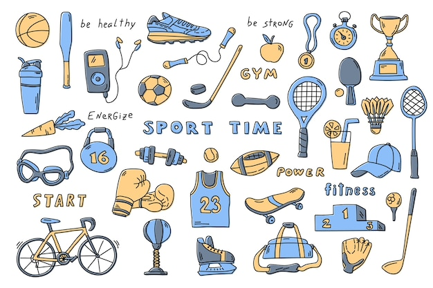 Zestaw elementów sportowych z napisem.
