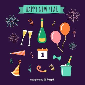 Zestaw elementów stron nowego roku